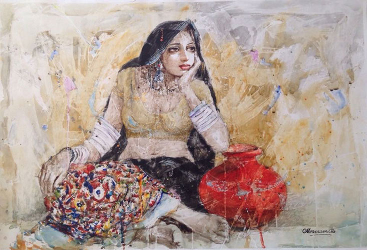 Moazzam Ali Paintings at New Louvre Art Gallery Karachi